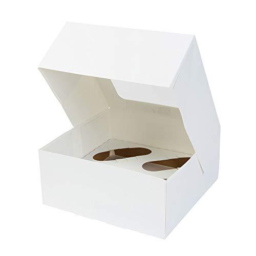 BIOZOYG 4er Cupcake Muffin Box Karton mit großem Sichtfenster inkl. Einlage I 100 Stück Patisserieschachteln Geschenkboxen weiß I Bio Box Take Away Kartonschachtel biologisch abbaubar