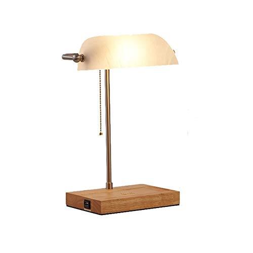 Tischlampe Dekorative Beleuchtung LED Schreibtischlampe, LED Wireless Charging Banker Lampe, Unterstützung Wireless Charging 5V / 10 Watt.USB-Schnittstelle 5V / 2.1A, verstellbarer Glaslampenschirm, v