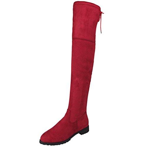 Hffan Damen Schnalle Schlank Hoch über dem Knie Trimmen Flache Stiefel Schuhe Damen Winter Warm Schnee Hohe Stiefel Pelzstiefel Flache Schuhe Overknee Stiefel Flache Stiefel (37, Rot) (Stiefel Flache Über Knie)