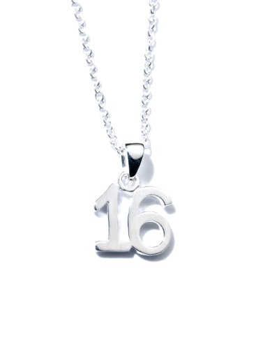 Price comparison product image Jo for Girls Sterling Silver 16 Number Pendant on 40.5cm silver chain