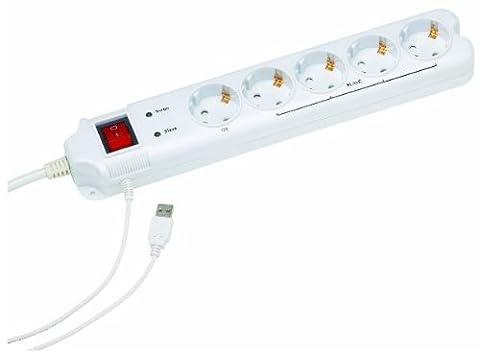 EnerGenie PCW-MS2G, 5-fach Steckdosenleiste, USB Master-Slave, Überspannungsschutz