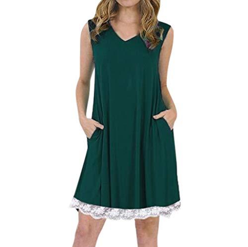 Sonojie Women V-Neck Sleeveless Spaghetti Strap Spitze Patchwork Plain Shift Dress (Kostüm Vegas Ideen Party)
