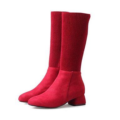 RTRY Scarpe da donna in pelle scamosciata raso elasticizzato Autunno Inverno Comfort novità moda Stivali Stivali Chunky tallone punta tonda Mid-Calf stivali per Party & US6.5-7 / EU37 / UK4.5-5 / CN37