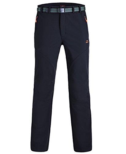 Homme Pantalon Softshell Ultra Thermique Étanche Hiver Automne Coupe-vent Résistant Respirant Sport Randonnée Camping Running Ski Garçon XL noir