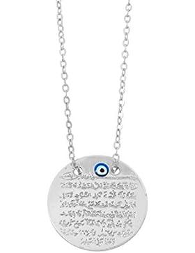 Remi Bijou Gravurplatte Halskette Kette + Anhänger - Ayetel Kursi - Silber Farbe Böser Blick Muslim Evil Eye türkisches...