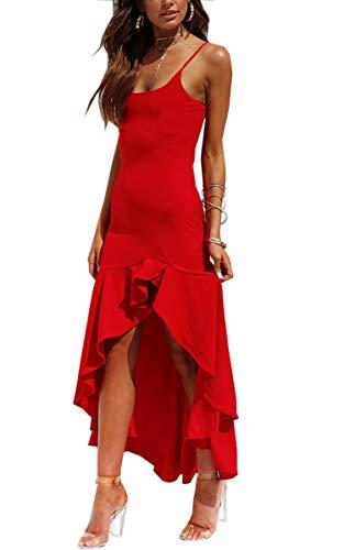 Angashion Damen Sexy Kleid Spaghettiträger Unregelmäßig Rüschen Cocktailkleid Elegante...
