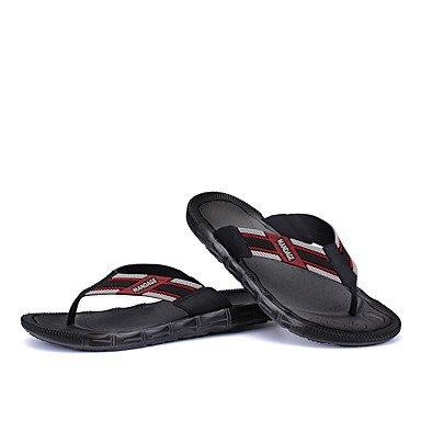 Slippers & amp;Pelle Estate laccio dietro microfibra esterna casuale Heel Flat Black Brown Sanda sandali US10 / EU43 / UK9 / CN44