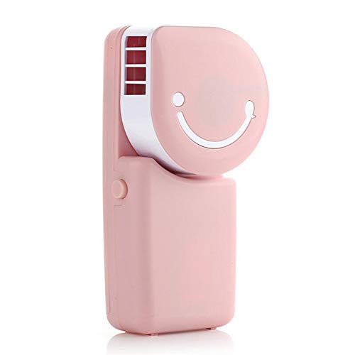 NN-xUE Mini-Lüfter, Handaufladung Klimaanlage Smiley-Lüfter Tricolor Optional USB Tragen Blattlosen Lüfter Strand Wandern Camping Grill,Pink -