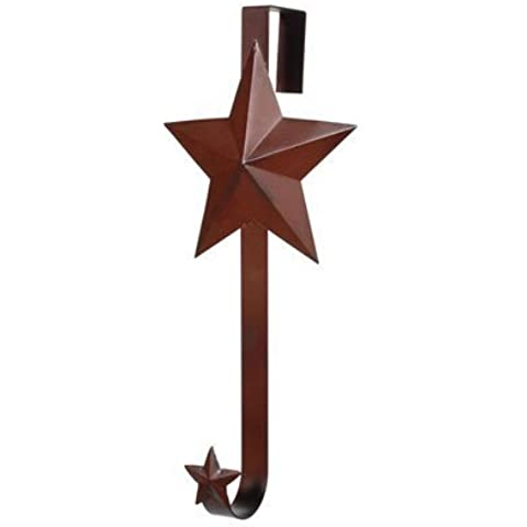 12.5IN.H TIN WREATH HANGR W/STAR RUSTY by Darice
