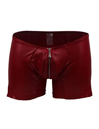 lau-fashion Zipper Wetlook Boxer Shorts Herren Slip Männer Hose Unterwäsche M/L Farbe rot Leder Slip