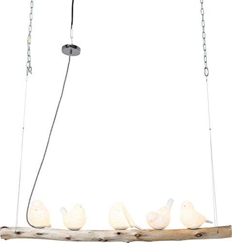 Kare Design Hängeleuchte Dining Birds, grosse, moderne Design Pendelleuchte, 5 Porzellanvögel, höhenverstellbar (H/B/T) 120x120x15cm