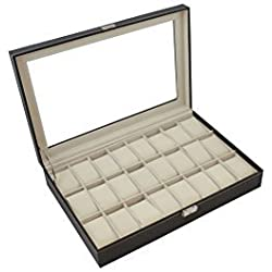 TMS?Black Leather 24 Mens Watch Box Large Glass Top Display Jewelry Case Organizer by TMS