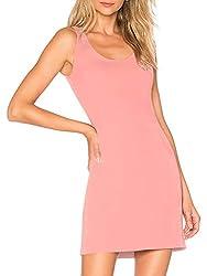 Damen Unterkleid Slim Nachthemd Verstellbare Träger Nachtwäsche, rosa, M