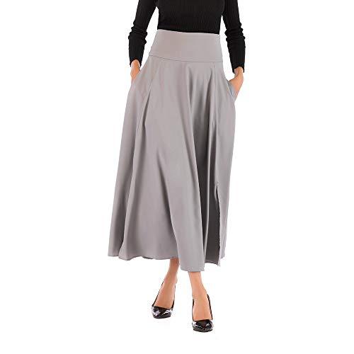 IMJONO Röcke 2019 neu, Frauen Hohe Taille Plissee A Line Langer Rock Front Slit Belted Maxirock GY XXL(Grau,XX-Large) Belted Silk Dress
