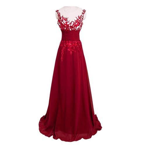 ZLDDE Damen Kleid Applikationen Spitzenkleid Cocktailkleid Ärmellos Elegante Lange Kleider -