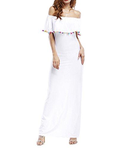 Vestito Senza Spalline Donna Elegante Abito con Spacco Laterale Maxi Skater  Dress Linea Ad A Abiti ... 7f0eea2cea9