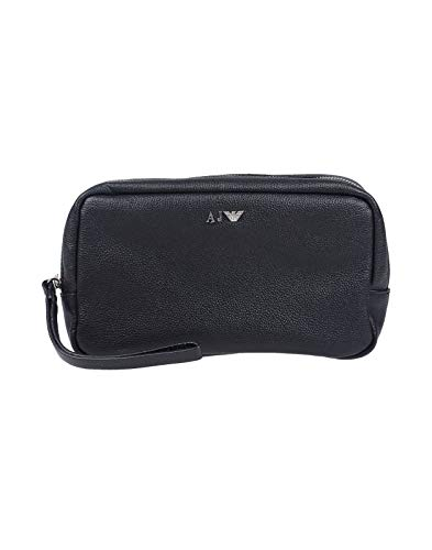 Borsello pochette beauty case unusex ARMANI JEANS vera pelle Nero