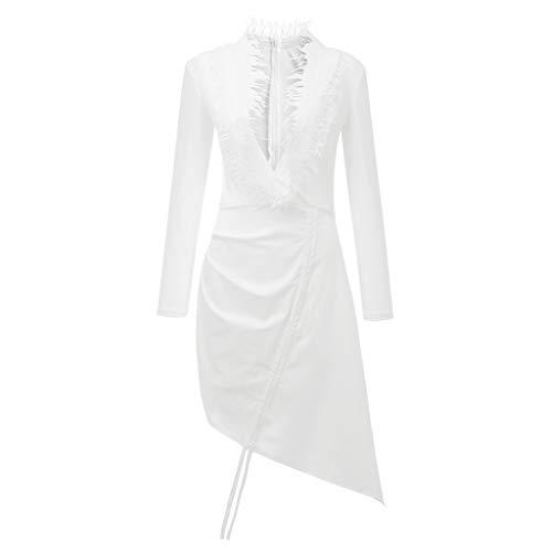 Tohole Damen Kleider Asymmetrisch Sommerkleid Einfarbig Plissee Kleid Casual Kleid Knielang Tailliertes Kleid Mit Tiefen V-Fransen Langen ÄRmeln Kleid(weiß,M) (Iron Fist Weißen Kostüm)