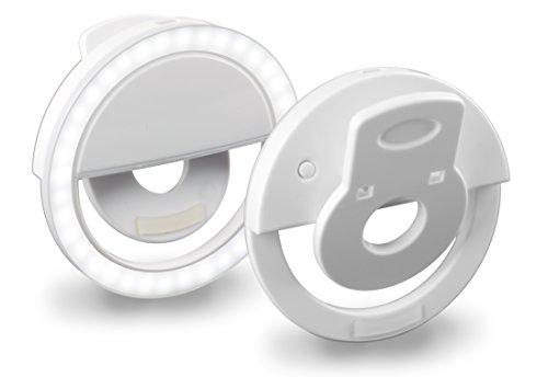 MyGadget Handy Selfie Licht - Ringlicht mit 36 LED Lampen - aufladbar über USB - Ringleuchte Kamera Zubehör für Smartphone u.a. Samsung iPhone 7, 6 - Weiss
