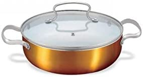 Alda Ceramic Coating Copper Finish Casserole Short + Lid - Fast Cooking, Induction Friendly Cookware, 24cm