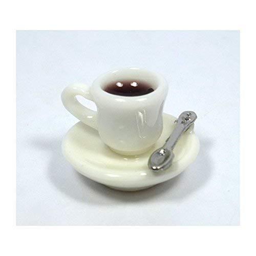 Creal 72510 Miniatur Kaffeetasse mit Untertasse und Löffel 1:12 für Puppenhaus