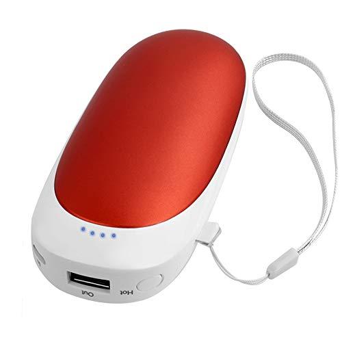 T98 USB Handwärmer, Elektrisch Taschenofen Doppelseitig Aufladbarer Taschenwärmer Wiederverwendbar, 5200mAH Hohe Kapazität Tragbare Powerbank für Handys iPad Tablets Smartphones MP3-Player etc