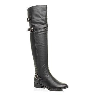 Ajvani Womens Ladies Low Heel Strap Buckle Winter Zip Over Knee Biker Riding Boots Size 6 39