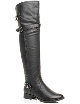 Donna tacco basso stivali cavallerizzo a metà coscia sopra il ginocchio taglia