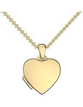 Foto Medaillon Herz Gold hochwertig vergoldet Herzkette Herz Anhänger zum Öffnen mit Kette inkl. GRATIS LUXUS-Etui...