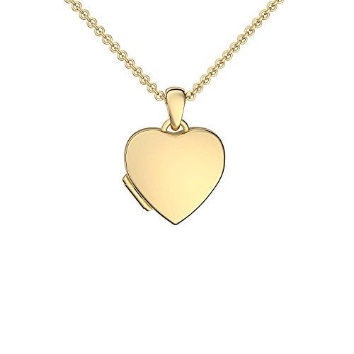 Foto Medaillon Herz Gold hochwertig vergoldet Herzkette Herz Anhänger zum Öffnen mit Kette inkl. GRATIS Etui + Herzmedaillon - Kostenlose Gravur Ich Liebe Dich FF98 VGGG45