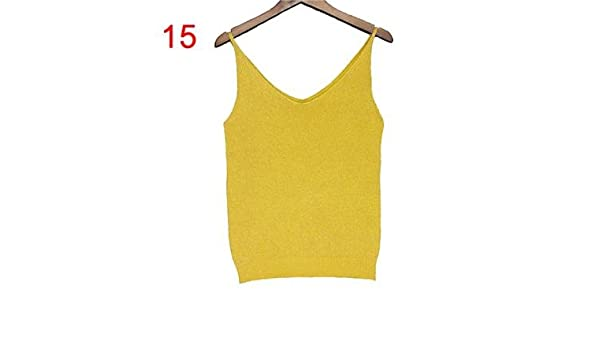58dbd0898c405 Knitted Tank Tops Women Gold Thread Top Vest Sequined V Neck Long Tank Tops  Blusa Solid Silver Camis Beige Fitness Sweater - -  Amazon.co.uk  Clothing