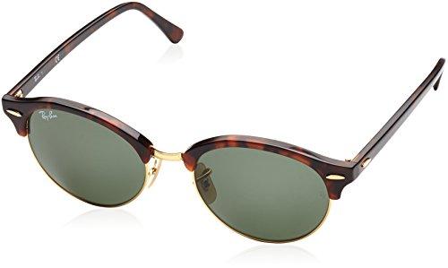 Ray-Ban Unisex Sonnenbrille Clubround, Mehrfarbig (Gestell: Havana, Gläser: Grün 990), Medium (Herstellergröße: - Italy Ray-ban-brillen-made In