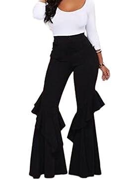 La Mujer Alta Cintura Elastica Sólido Volante Inferior Del Pantalón Largo