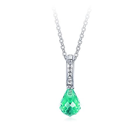 MYJS Frosted Droplet Hanging Drop Necklace Pendant Rhodium Plated with Peridot Teardrop Crystals