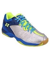 Yonex SRCP Badminton Indoor Court Shoes Orange (UK9, Silver/Blue)