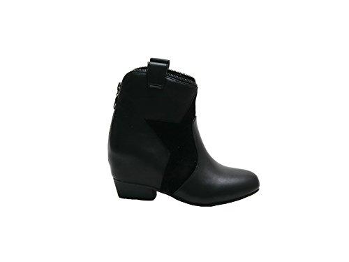 JustGlam-boot avec des chaussures en cuir de faux avec coin intérieur suède et étoiles Noir