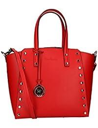 Bolsa mujer de mano bandolera PIERRE CARDIN rojo cuero Made in Italy VN16