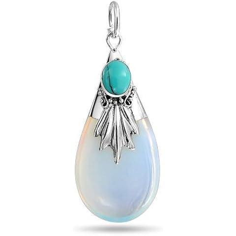 Bling Jewelry Sterling Silver turchese e collana del pendente Opalite Glass