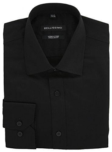 Bellissimo di lusso in rasatello regular fit camicia senza grinze Black