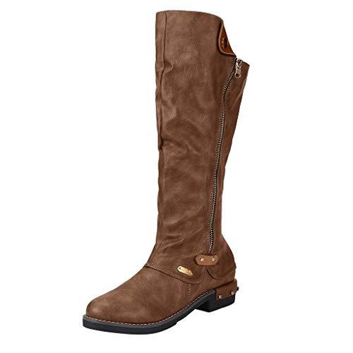 Felicove Damenmode Stiefel Westernstil Cowboy Reitstiefel Lässige Knie Mittelrohrstiefel