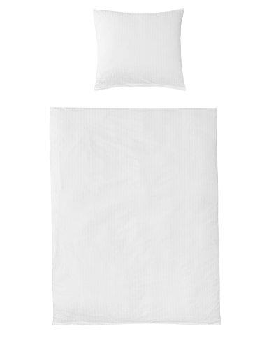 Uni Bettwäsche Baumwolle Seersucker Weiss in Allen Größen Bügelfrei, 3tlg. Set 1x 200x220 + 2X 80x80 cm