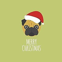 Pug (Illustrated)–Tarjeta de Navidad