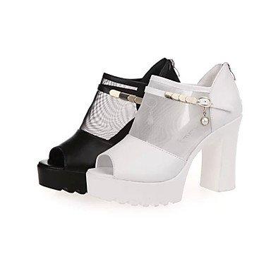LvYuan Da donna-Sandali-Casual Formale-Comoda-Quadrato-PU (Poliuretano)-Nero Bianco White