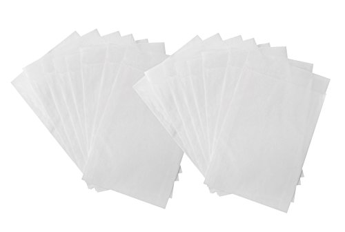 100 kleine WEISSE Minitüte Mini Papiertüte Mini-Tütchen Papier 4,5 x 6 + 2 cm Lasche Mini-Verpackung give-away Tablette Globuli Samen Mini-Beutel Mini-Tüten Kraftpapier Gewürz