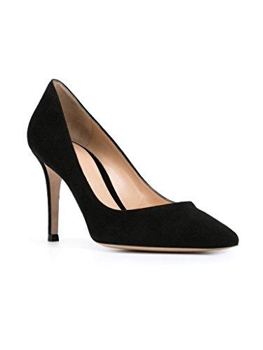 EDEFS - Escarpins Femme - Chaussures à Talons Hauts - Bout Pointu fermé - Classique Bureau Soiree SuedeBlack