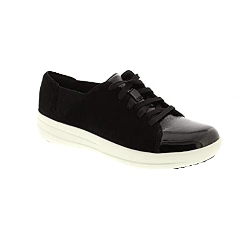 FitFlop F Sporty Lace Up Sneaker - Black Mix Suede 5 UK