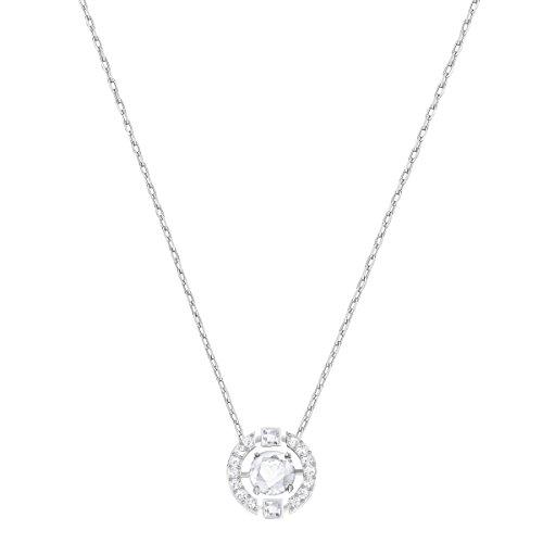 Swarovski collana sparkling dance round, cristallo bianco, rodiata, da donna