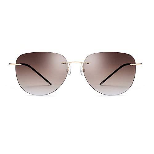 Yiph-Sunglass Sonnenbrillen Mode Rahmenlose Schutz Sonnenbrille Männer und Frauen ultraleichte Titanlegierung UV-Sonnenbrille (Farbe : Gold Frame Gradient Tea Piece)
