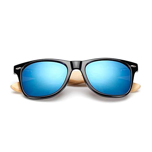 CCMOO Holz Sonnenbrille Männer Bambus Sonnenbrille Frauen Design Sportbrillen Original Holz Sonnenbrille Spiegel-blau
