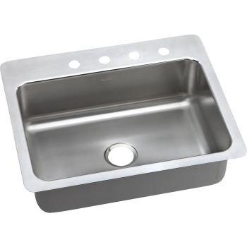 Elkao #Elkay LSR27224 18 Gauge Stainless Steel 27 Inch x 22 Inch x 8 Inch single Bowl Dual / Universal Mount Kitchen Sink, 4 Faucet Holes, by Elkay